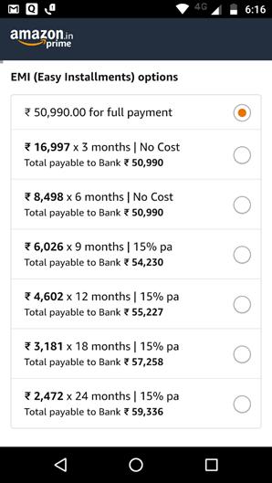 Amazon No Cost EMI